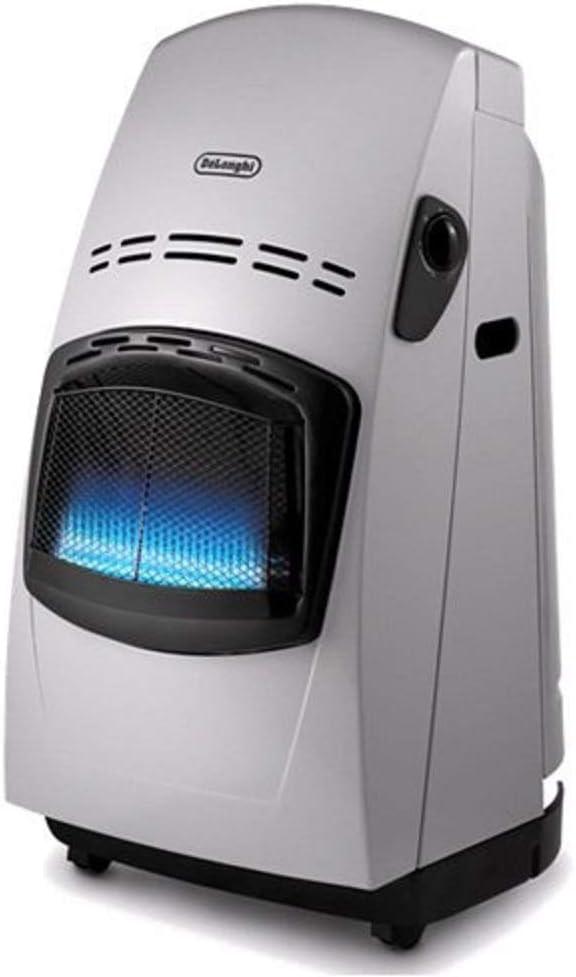 De'longhi VBF - Estufa de gas, 4200 W, sistema variable de control de la llama, doble sistema seguridad, mandos ergonómicos, ruedas desplazamiento, plateado