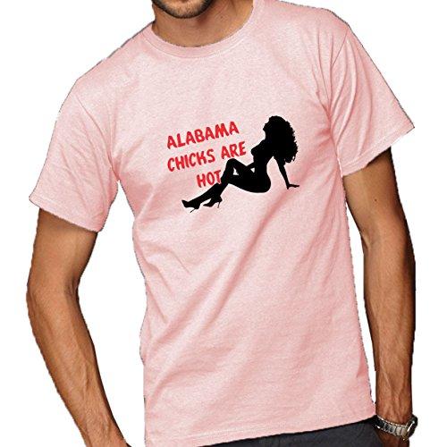 Alabama Chicks Are Hot Adult Short Sleeve T-Shirt Pink Large (Chicks Alabama)