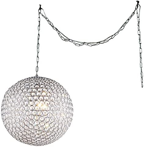 Whse of Tiffany Rl7958 3 Jessie 3-Light Crystal Round 12 Chrome Swag Lamp