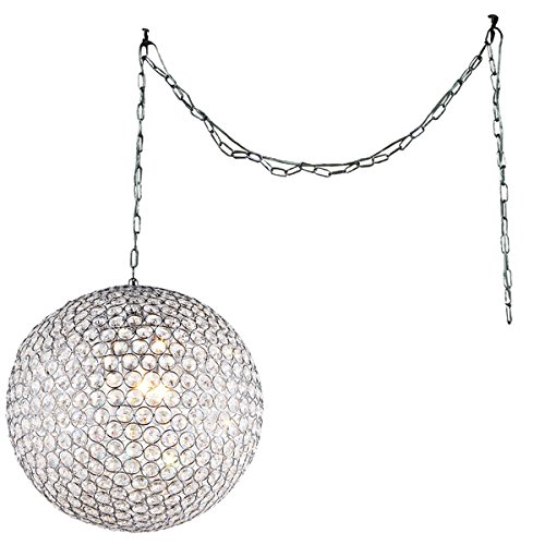 Whse of Tiffany RL7958/3 Jessie 3-Light Crystal Round 12'' Chrome Swag Lamp by Whse of Tiffany