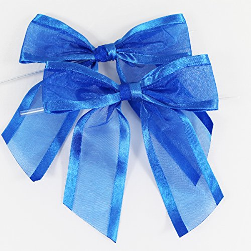 Royal Blue Pre-Tied Organza Bows with Twist Ties. Pack of 12 Satin-Edged Fabric Bows Made of 1-1/2