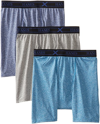 Hanes Men's 3-Pack Ultimate X-Temp Lightweight Performance Boxer Brief, Assorted, Medium
