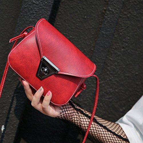 Tinksky Frauen Umhängetasche Mini Handtasche Pu-leder Schulter Diagonale Tasche Schultertasche Allgleiches Reise Tragetaschen Für Frauen Gilrs (Weinrot)
