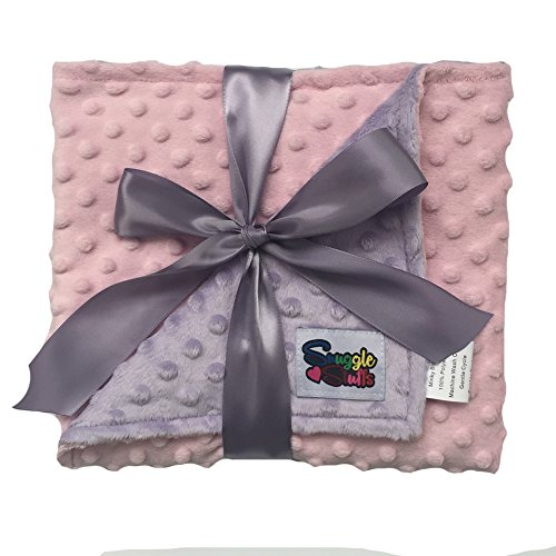 Reversible Unisex Children's Soft Baby Blanket Minky Dot (Choose Color) (Pink/Lavender) ()
