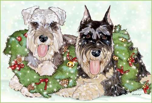 Schnauzer Miniature Schnauzer Dog Christmas Cards Set of 10 cards & 10 envelopes