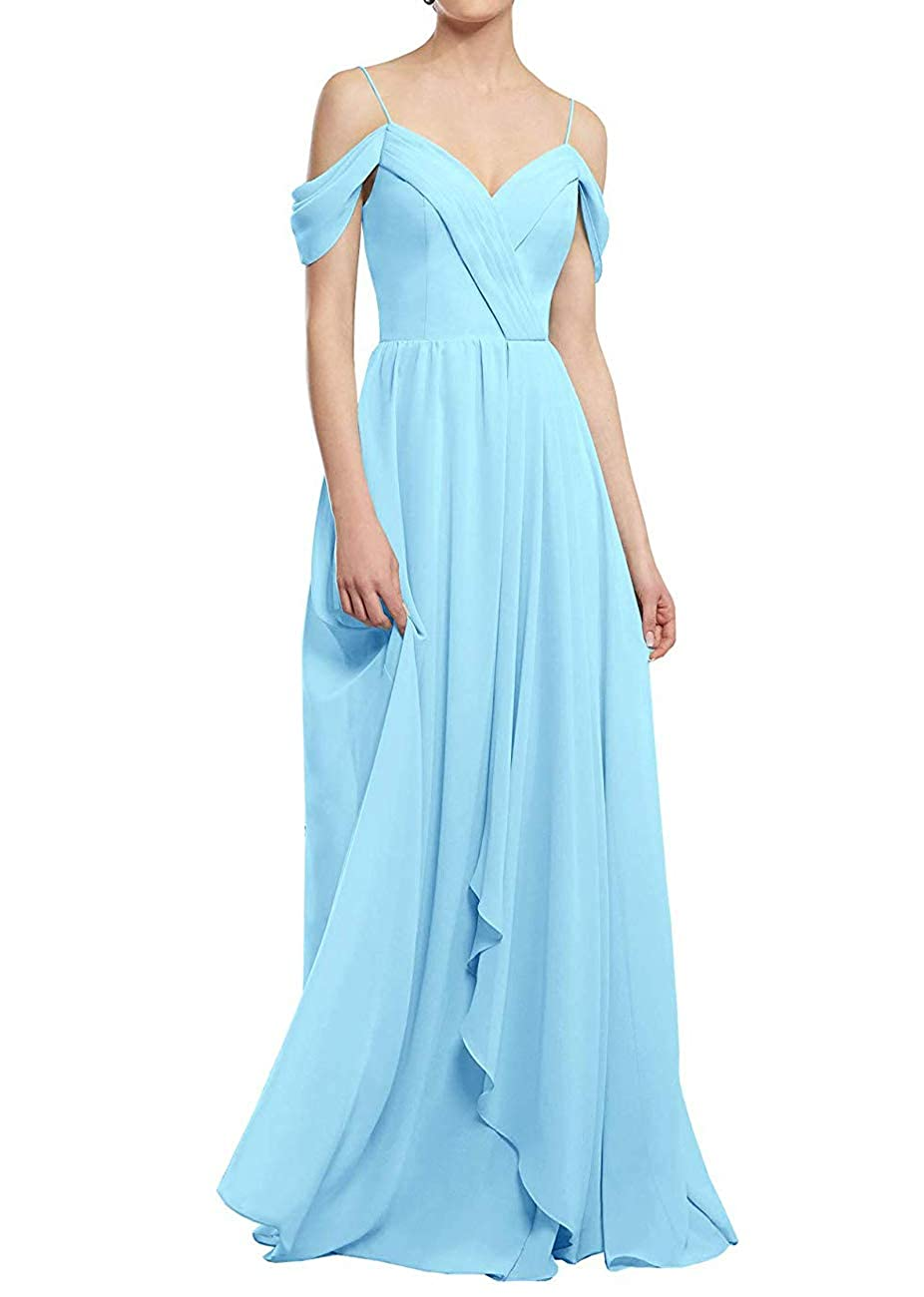 Ice bluee PrettyTatum ALine Cold Shoulder Long Party Prom Gown Sweetheart Neckline Bridesmaid Dresses