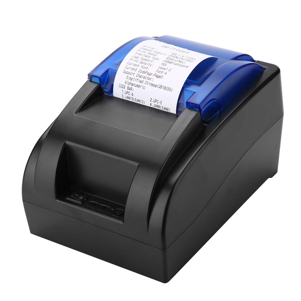 USB+Bluetooth Thermal Receipt Printer 58mm Mini Portable Label Printer with High Speed Printing, Low Noise Compatible with ESC/POS Print Commands Set(Black)