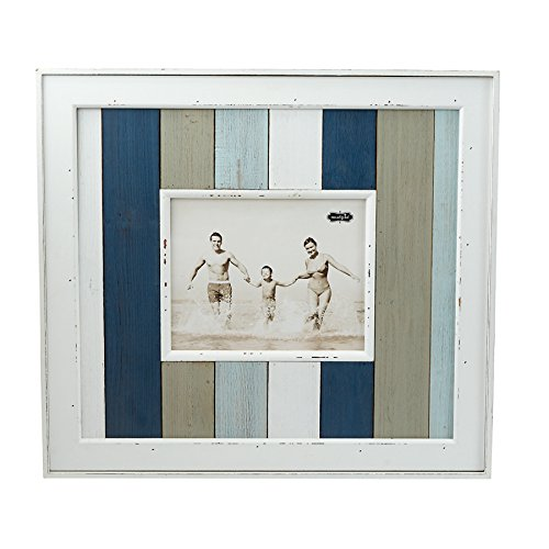 Mud Pie 4695405 Planked Wood Striped Nautical Frame 8