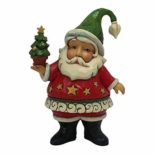 Enesco Jim Shore Heartwood Creek Mini Santa Holding Tree Stone Resin Figurine, (Santa Holding Christmas Tree)