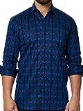 Maceoo Mens Designer Dress Shirt - Stylish & Trendy- Blue - Tailored Fit