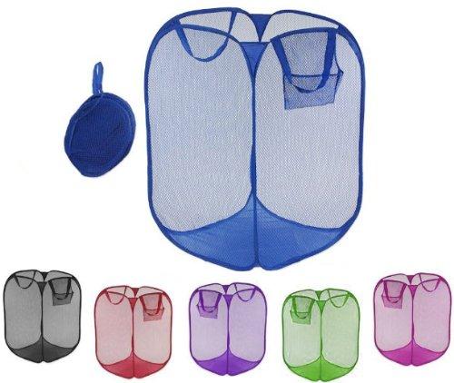 Jumbo Pop-Up Mesh Laundry Hamper Basket - Great for Dorm (6 Piece Hamper)