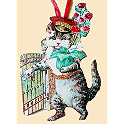 Valentine Delivery Kitty Ornament Handcrafted Wood, Cat Lover Gift Roses, Antique Postcard, Valentine Pin Magnet, Red Cap, Gate