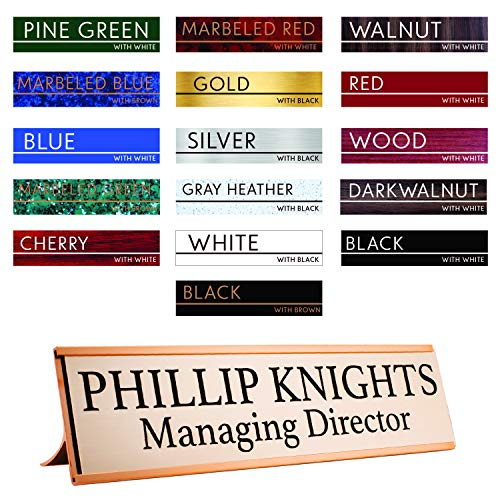 - Premium Desk Name Plate Personalized Desk Name Tags with Holder for Office Classroom (Gold Holder) | 16 Different Color for Name Plate 2x10