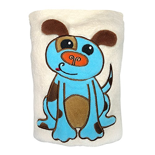 (Sozo Baby-Boys Newborn Puppy Snuggle Blanket, Tan/Blue, One Size)