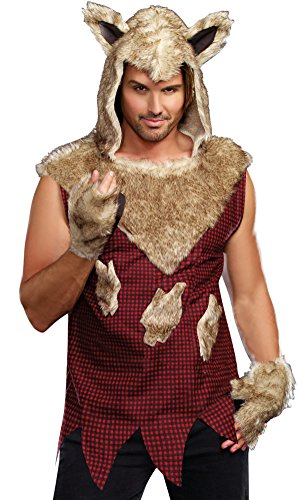Bad Adult Costume - Dreamgirl Men's Big Bad Wolf Costume, Multi-Colored, XX-Large
