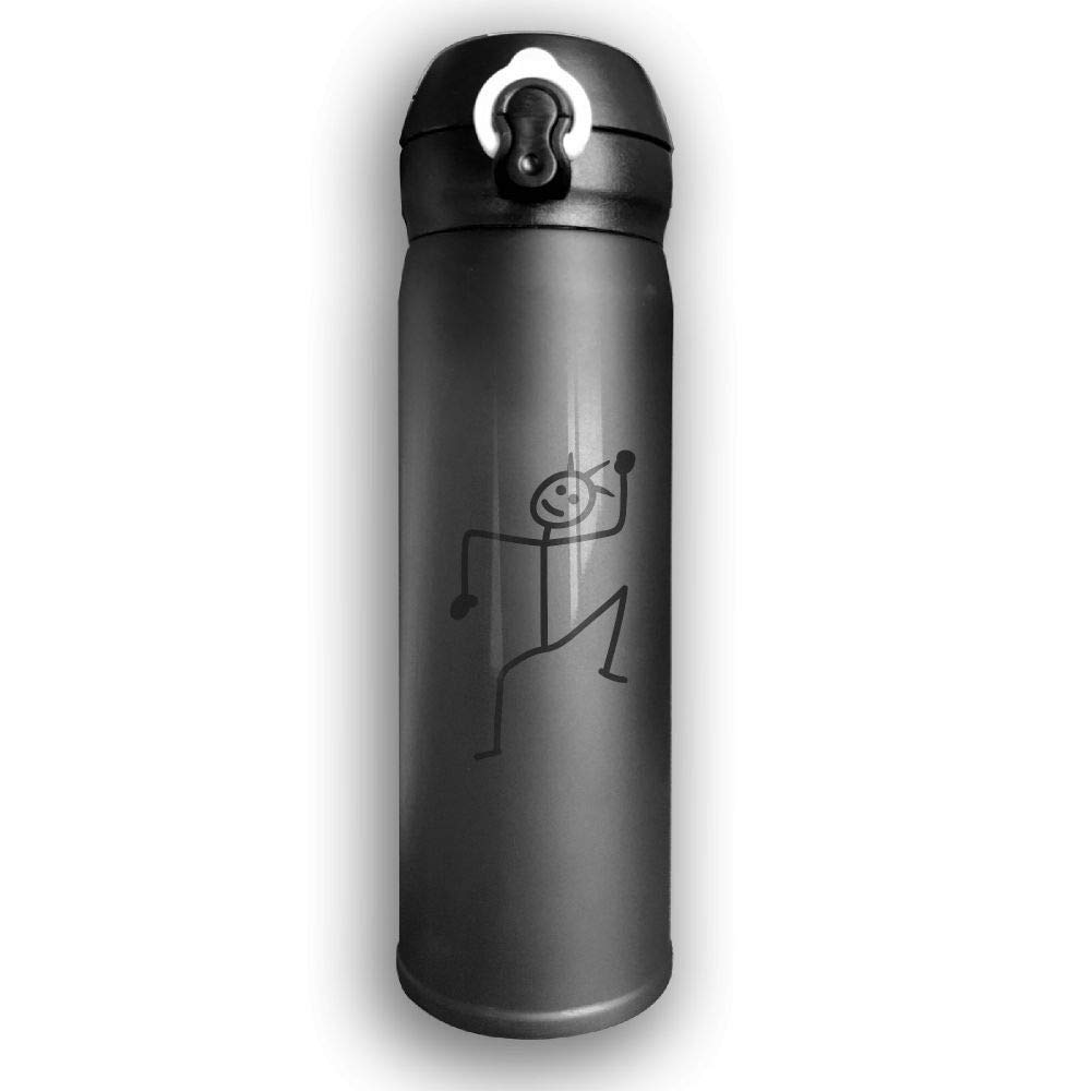 Adhone Designed Dance Man Stainless Water Bottle, Sports Drinking Bottle/Travel Coffee Mug, Leak-Proof Vaccum Cup, with Bounce Cover,Black