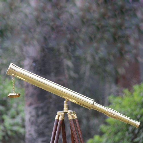 Shiny Brass Nautical Single Barrel Telescope Wooden Tripod Ideal Home Decor Brass Finish & Brown by Collectibles Buy (Image #2)
