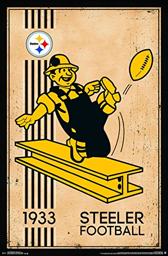 "Trends International Pittsburgh Steelers - Retro Logo Premium Wall Poster, 22.375"" x 34"""