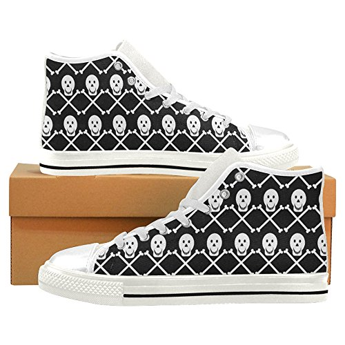 Interestprint Crâne Classique Haut Haut Chaussures De Toile Pour Hommes