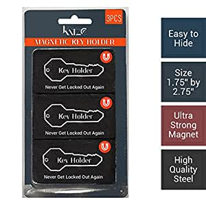 """Magnetic Hide a Key Holder, Fits 3"""" Inches Long Keys, Extra Super Strong Magnet, Good for Extra Spare Car Key, House Key, Warehouse Key, 100% Safe Compartment, (Pack of 3pc) - By Katzco"""