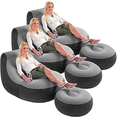 3 Pack Intex Ultra Lounge Inflatable Chair w/ Ottoman Sofa Dorm Gaming Chair