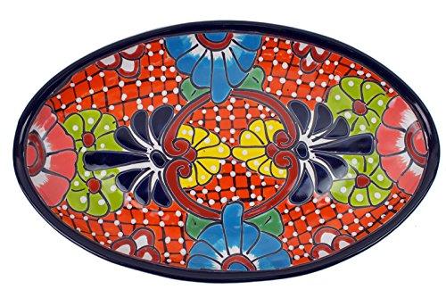 Mexikanische Handwerkskunst: Servierplatte oval, mittel, handbemalt, orange