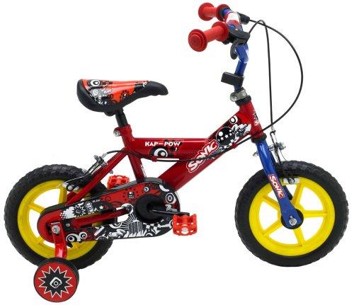 Sonic Kap Pow – Bicicleta para niño, tamaño 12, color rojo / azul