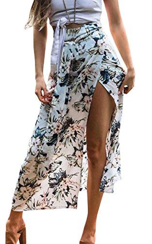 Freestyle Femmes Jupe de Plage t Casual Imprime Jupe avec Bandage Jeune Fashion Haute Taille Longue Jupes de Gala Party Blanc