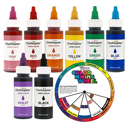 Chefmaster by US Cake Supply 2-ounce Liquid Candy Food Color 8 Bottle Kit with Mixing Wheel]()