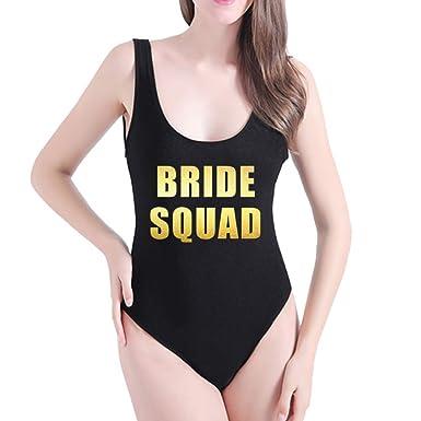 1ebd42d71e793 Yarsiman Bride Squad One Piece Bathing Suit Bodysuit Swimsuit Beachwear  Swimwear
