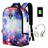 Starry Sky Laptop Backpack, College Student Rucksack, Lightweight Computer Backpack with USB Charging Port Large Capacity for Travel, Business
