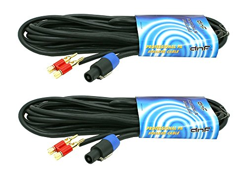 - DNF 2 Pack 25 FT Speakon To Banana Plug Heavy Duty Speaker To Amp Cable