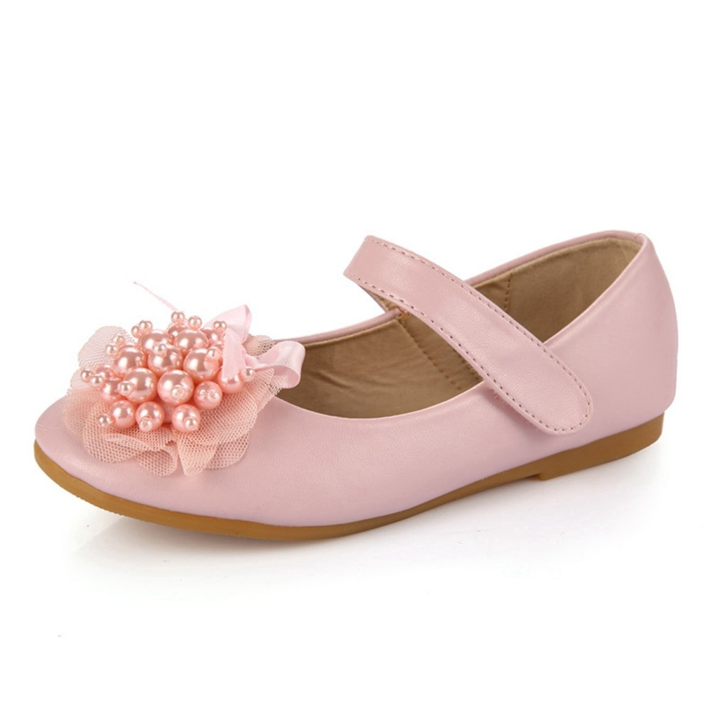 CYBLING Kids Girls Mary Jane Flats Wedding Party Ballet Ballerina Flat Princess Dress Shoes