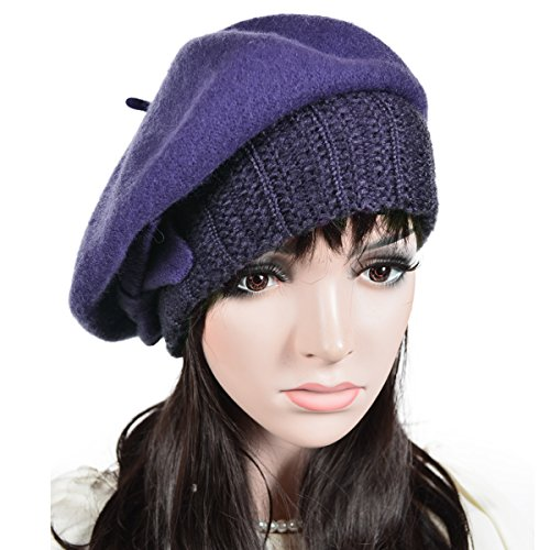 FORBUSITE Women Wool French Bow Beret Knit Cap Purple