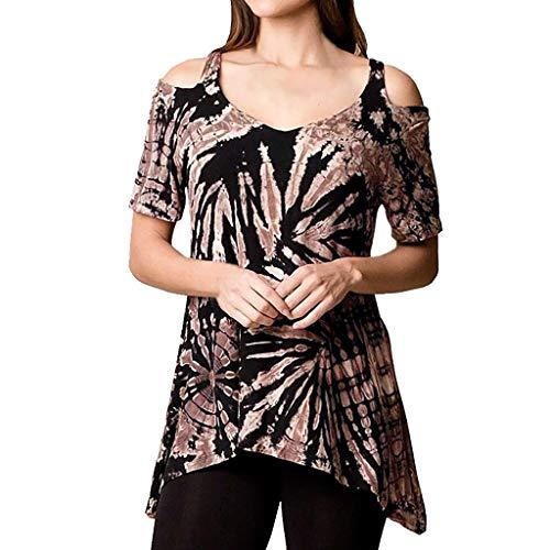 MOSERIAN Women Summer Off Shoulder Irregular Casual Tie Dyeing Print Blouse Shirt Tops Khaki