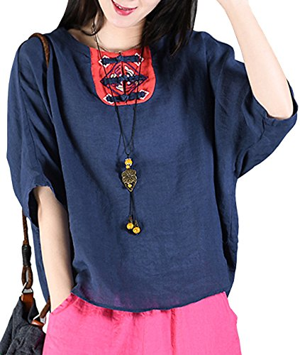 YESNO Y52 Women Casual Loose Fit Embroidered Blouse Shirt Tops 100% Linen Contrast Color Chinese Traditional Frogs Bat-Wing Short Sleeve -