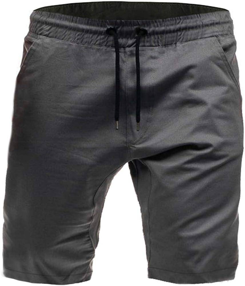 Pantalones de Verano 2020 Pantalones Cortos de Moda Casual para Hombres Cinturón elástico Pantalones Cortos de Color sólido para Hombres Ocasionales