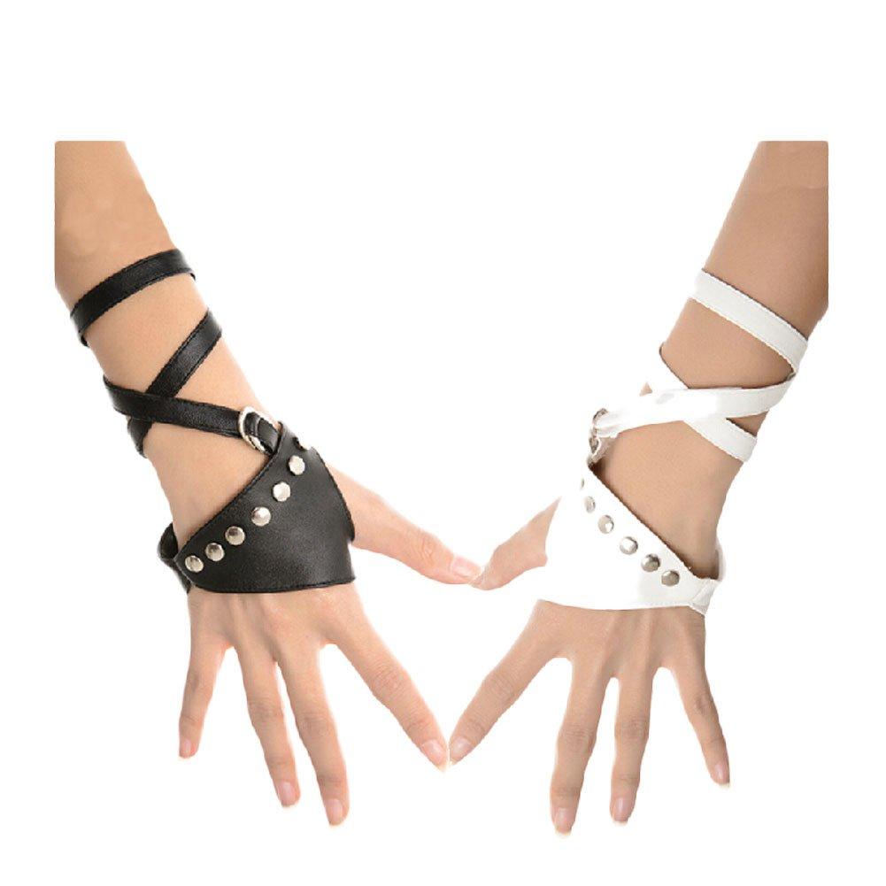 Minibee Women's Fingerless Rivets Cycling Rock Punk Street Gloves A Pair (Black 3)