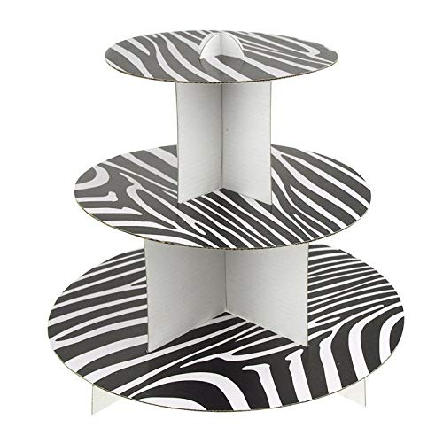 Ifavor123 Black and White Zebra Print 3-Tier Round Cardboard Cupcake Stand Dessert Tower Treat Stacked Pastry Serving Platter Food Display (12