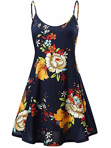 MSBASIC Holiday Dress, Womens A-line Dress Sleeveless Sundresses for Juniors(Navy Floral,S) - Holiday Dresses Cute
