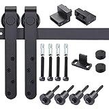 EaseLife Mini Cabinet 5 FT Sliding Barn Door Hardware for Cabinet TV Stand (Black) (Mini J Shape Hangers)