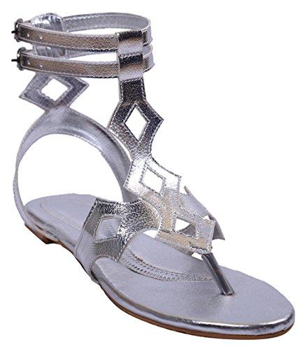 John Sparrow Mujer Casual tobillo Strap plana sandalia verano calzado - tamaño disponible Plata