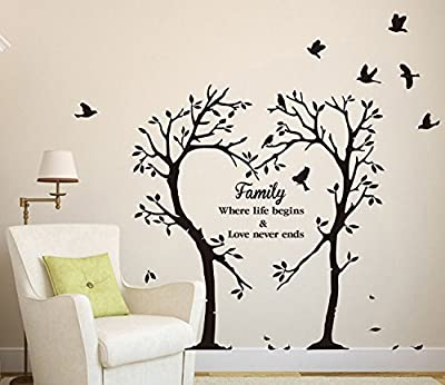 "Homefind (Black 39.4""w x 35.4""h) Love Tree and Birds with Inspiring Quotes -Family Where Life Begins & Love Never Ends- Wall Stickers Inspirational Lettering Wall Decals Living Room Wall Decoration"
