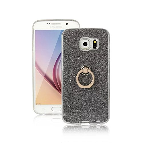Luxury Bling Sparkle Style Case, Soft TPU [Silicone] Flexible Glitter Back Cover with Fingerring Stand for Samsung Galaxy S6 ( Color : White ) Black
