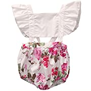 GRNSHTS Baby Girls Flower Print Buttons Ruffles Backless Romper Bodysuit (70 cm/0-6 Month, Pink & Red Flower)