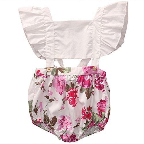 - GRNSHTS Baby Girls Flower Print Buttons Ruffles Backless Romper Bodysuit (90 cm / 12-18 Month, White)