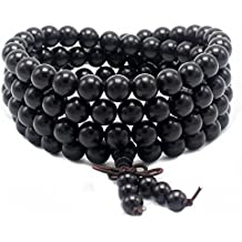 JIIUZUO 8mm 108 wood necklace sandalwood prayer beads bracelet meditation buddhist link wrist prayer mala elastic