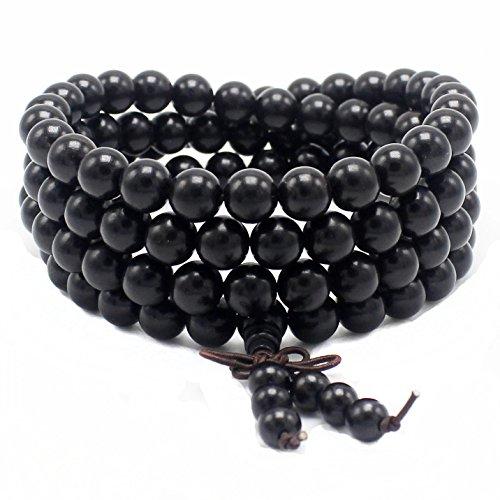 JIIUZUO 8mm 108 wood necklace sandalwood prayer beads bracelet meditation buddhist link wrist prayer mala - Mantra Bead Bracelet