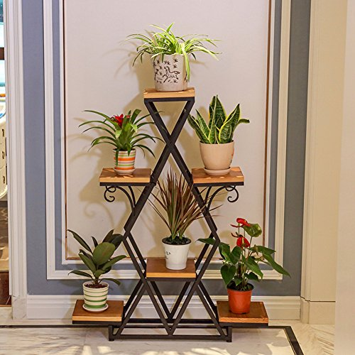 European-style wrought iron/multilayer modern simple flower racks/balcony,living room,ground flowerpot rack/multifunctional solid wood flower racks-A by SHDUAYGSCXS