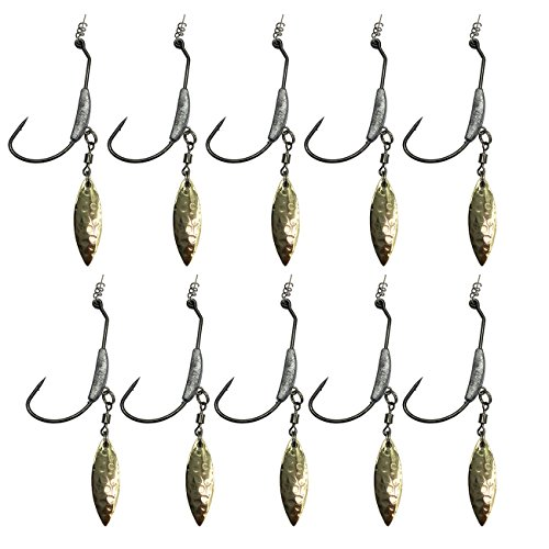 wild.life Weighted Hook with Twist Lock Silver & Gold Spin Superline Spring Hook Underspin Swimbait Fishing Hooks 0.16 0.19 0.25 oz (0.25, 4#Gold) ()